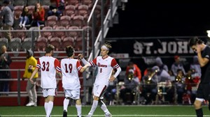 Simonsen celebrates his game-tying goal in the 81st minute.