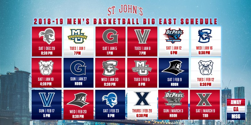 Full 2018-19 Men's Basketball Scheduled Revealed - St